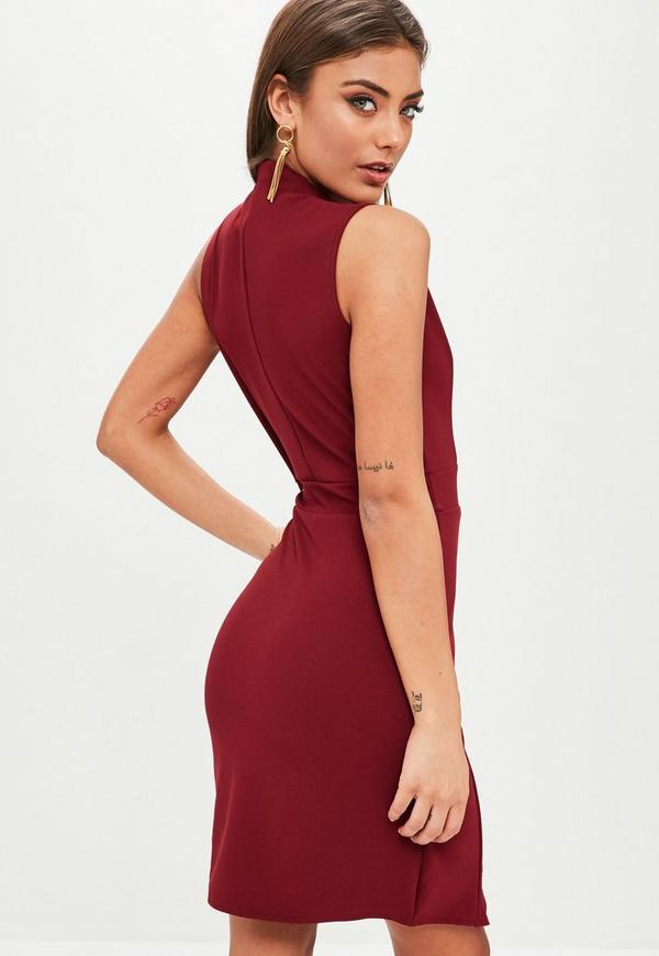 276d51af32b5 ... Burgundy Wrap Over Front Sleeveless Bodycon Dress. Previous Next