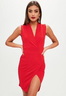 Red Wrap Over Front Bodycon Dress