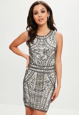 Srebrna zdobiona sukienka mini