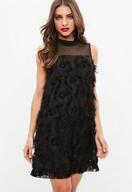 Black Tassel Mesh Dress