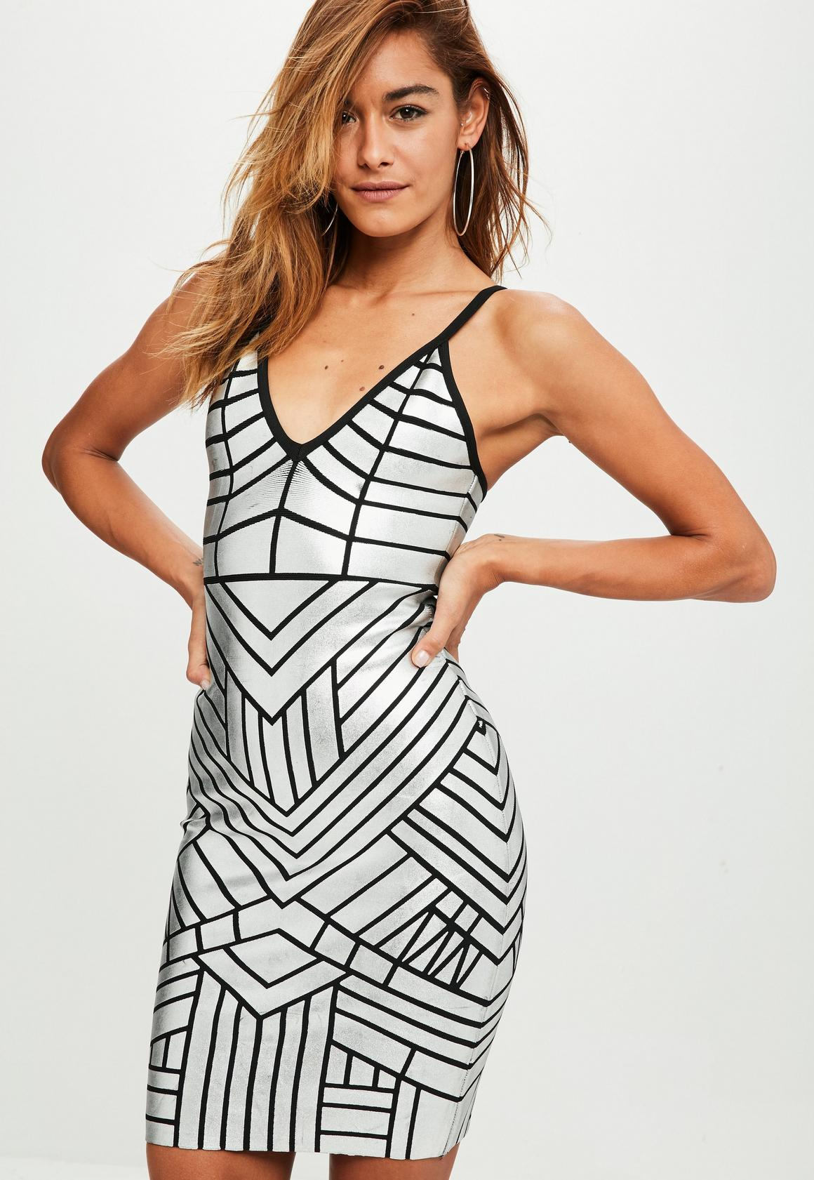 d0f63d3dbc3 Silver Wet Look Bandage Dress, Grey - Missguided at £60 | love the ...