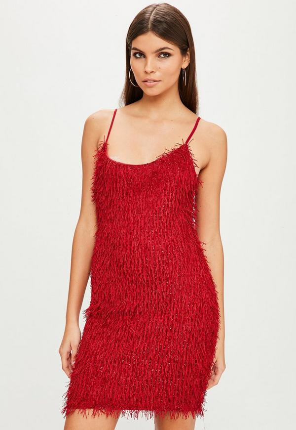 red fringe swing dress missguided