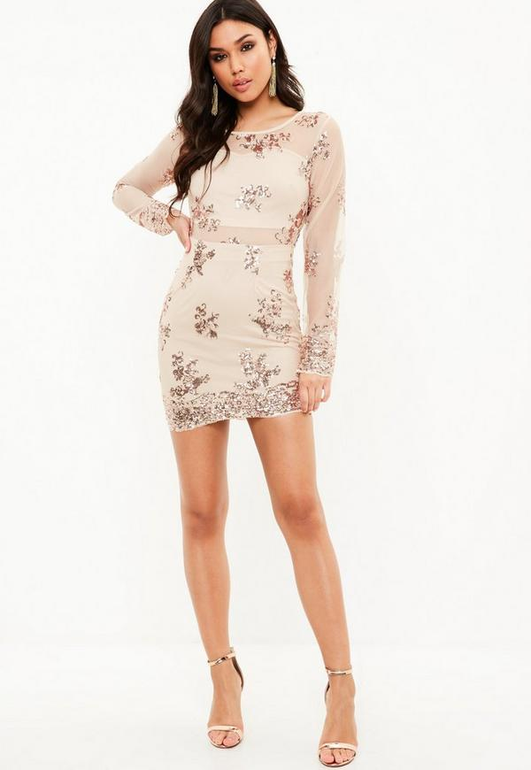 Nude Sequin Mesh Mini Dress