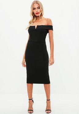 Czarna sukienka midi bardot