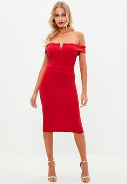 Czerwona sukienka midi bardot