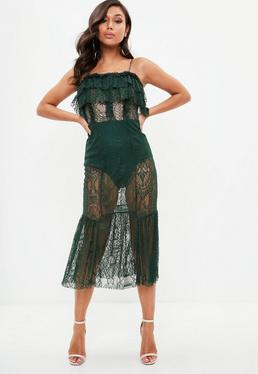 Green Strappy Lace Insert Dress