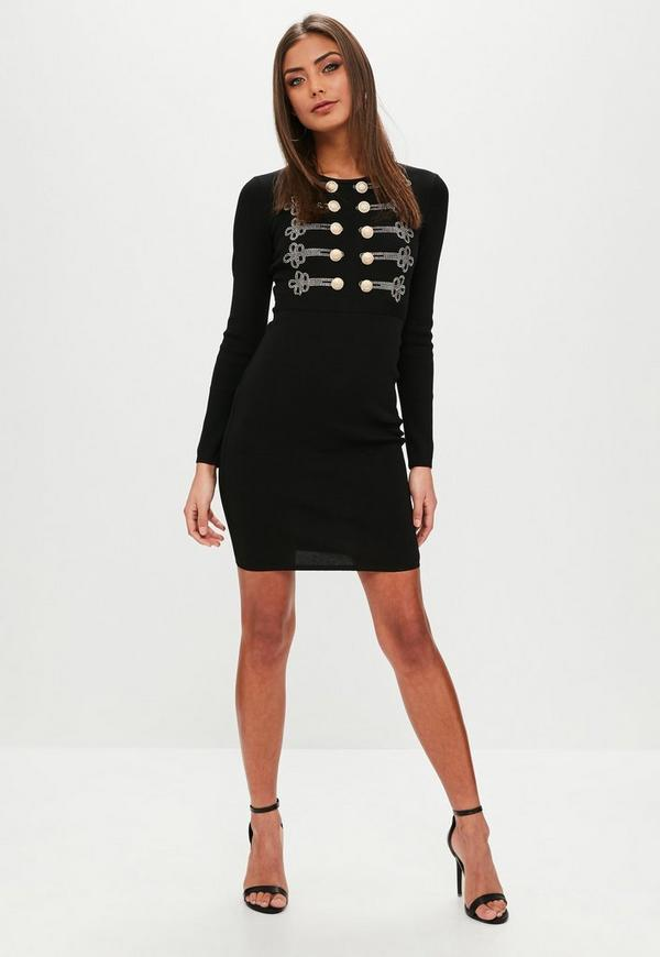 Black button front dress
