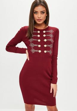 Wine Button Front Knitted Dress