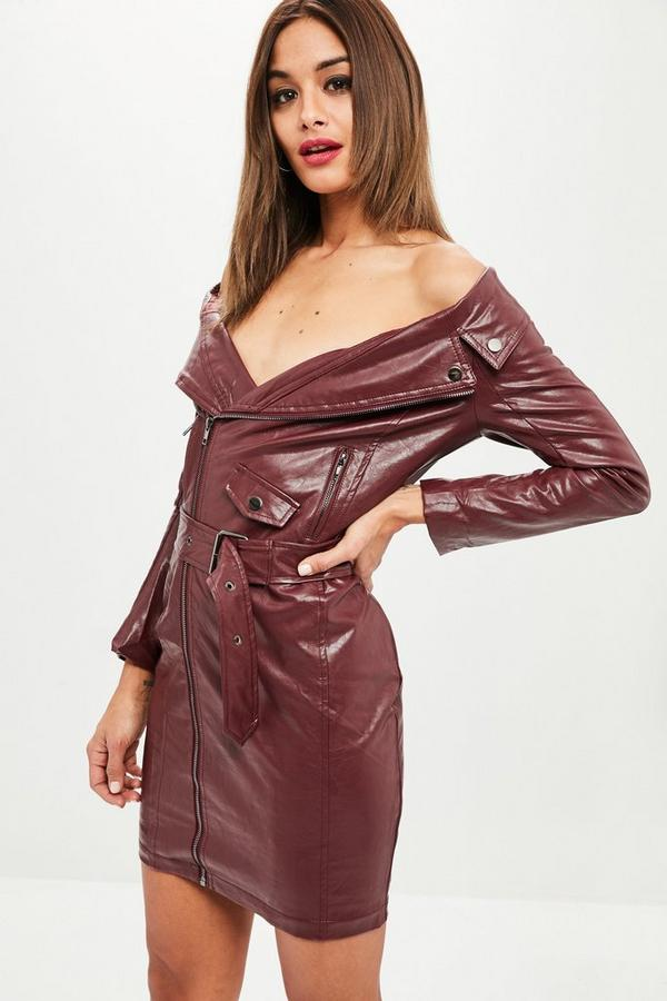 wine faux leather off shoulder biker dress missguided