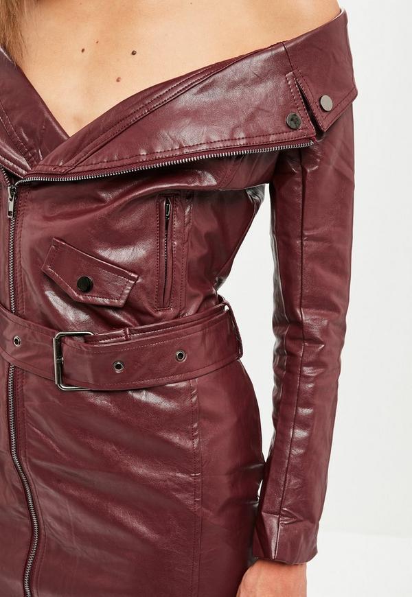 b90717b5b3bc Wine Faux Leather Off Shoulder Biker Dress | Missguided Australia