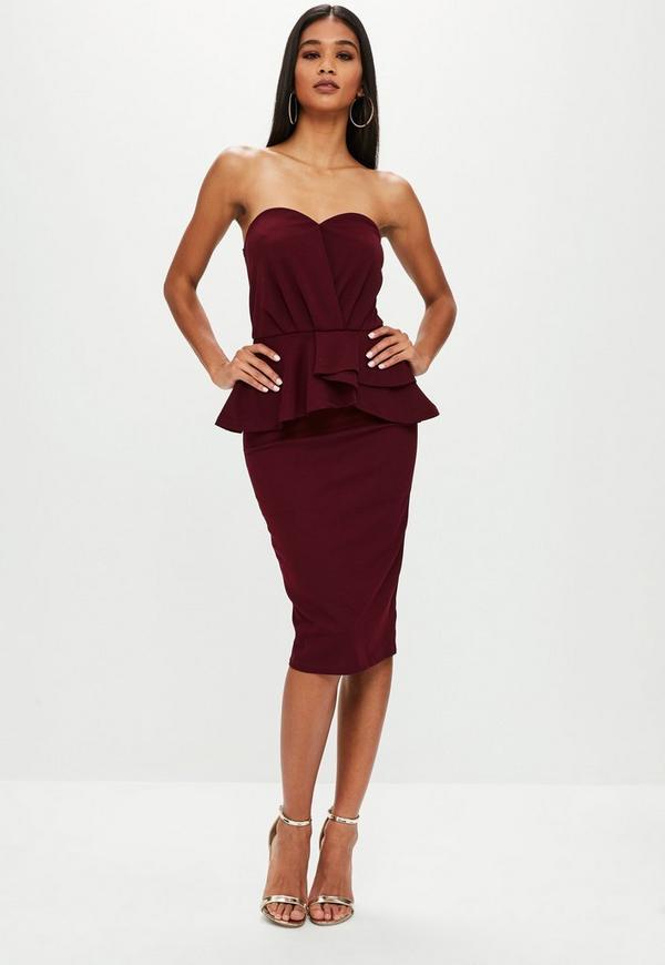 Burgundy Bandeau Frill Midi Dress | Missguided