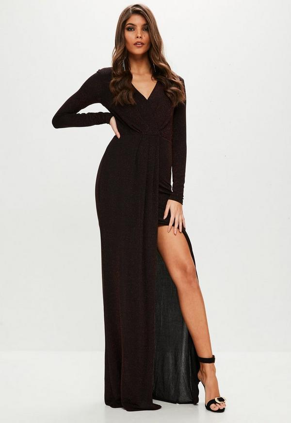 Long Sleeve Maxi Dress with Split