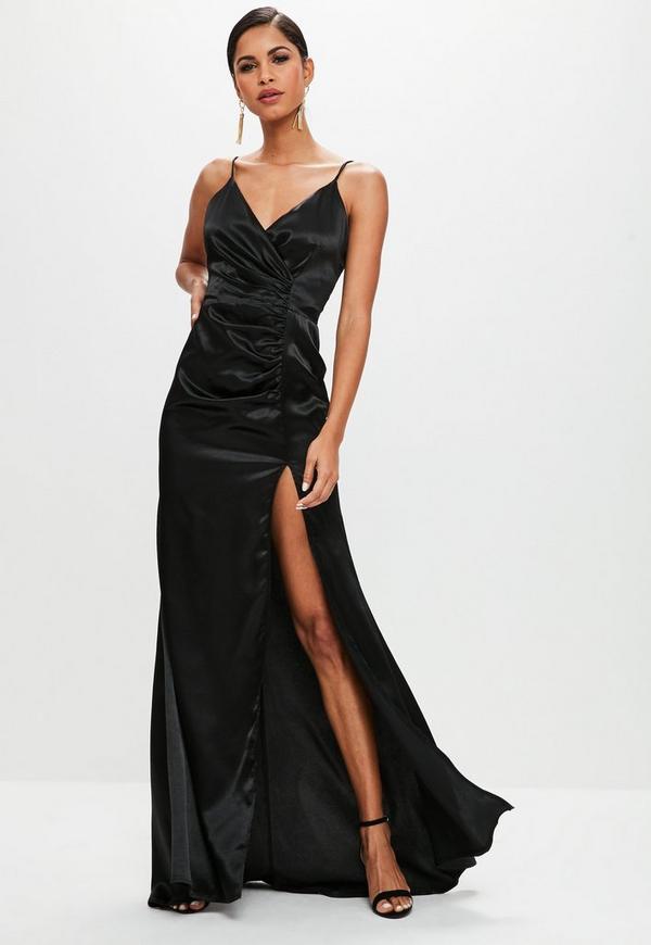 Black Satin Ruched Split Maxi Dress | Missguided