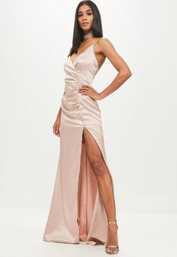 Gold Satin Ruched Split Maxi Dress