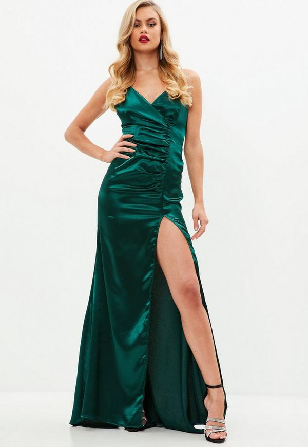 Satin Ruched Split Maxi Green Missguided