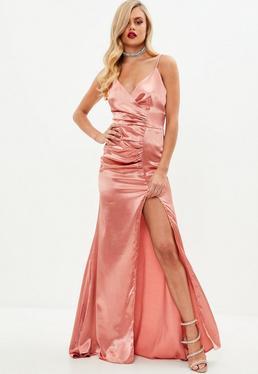 Rose Satin Ruched Split Maxi Dress