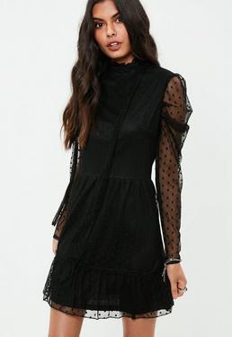 Black Polka Dot Mesh Puffed Sleeve Dress