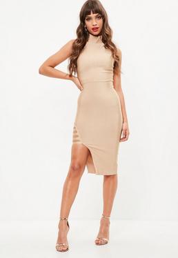 Premium Nude Bandage High Neck Midi Dress