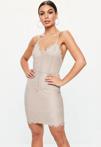 Lilac Lace Nude Underlay Midi Dress | Missguided