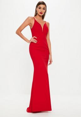 Red Deep V Fishtail Maxi Dress