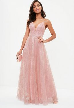 Pink Mesh Sparkle Deep V Maxi Dress