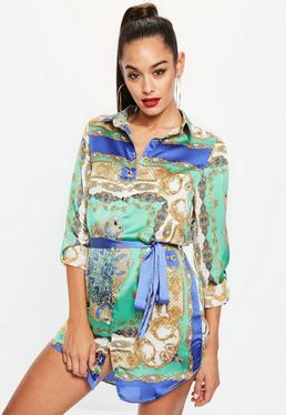 Green Scarf Print Belted Shirt Dress