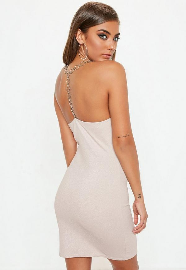 Pink Chain T Bar Metallic Strappy Dress by Missguided