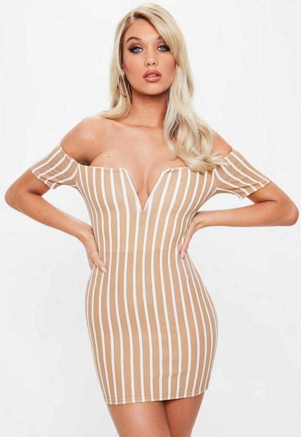 Product photo of Camel v bar stripe bardot dress beige