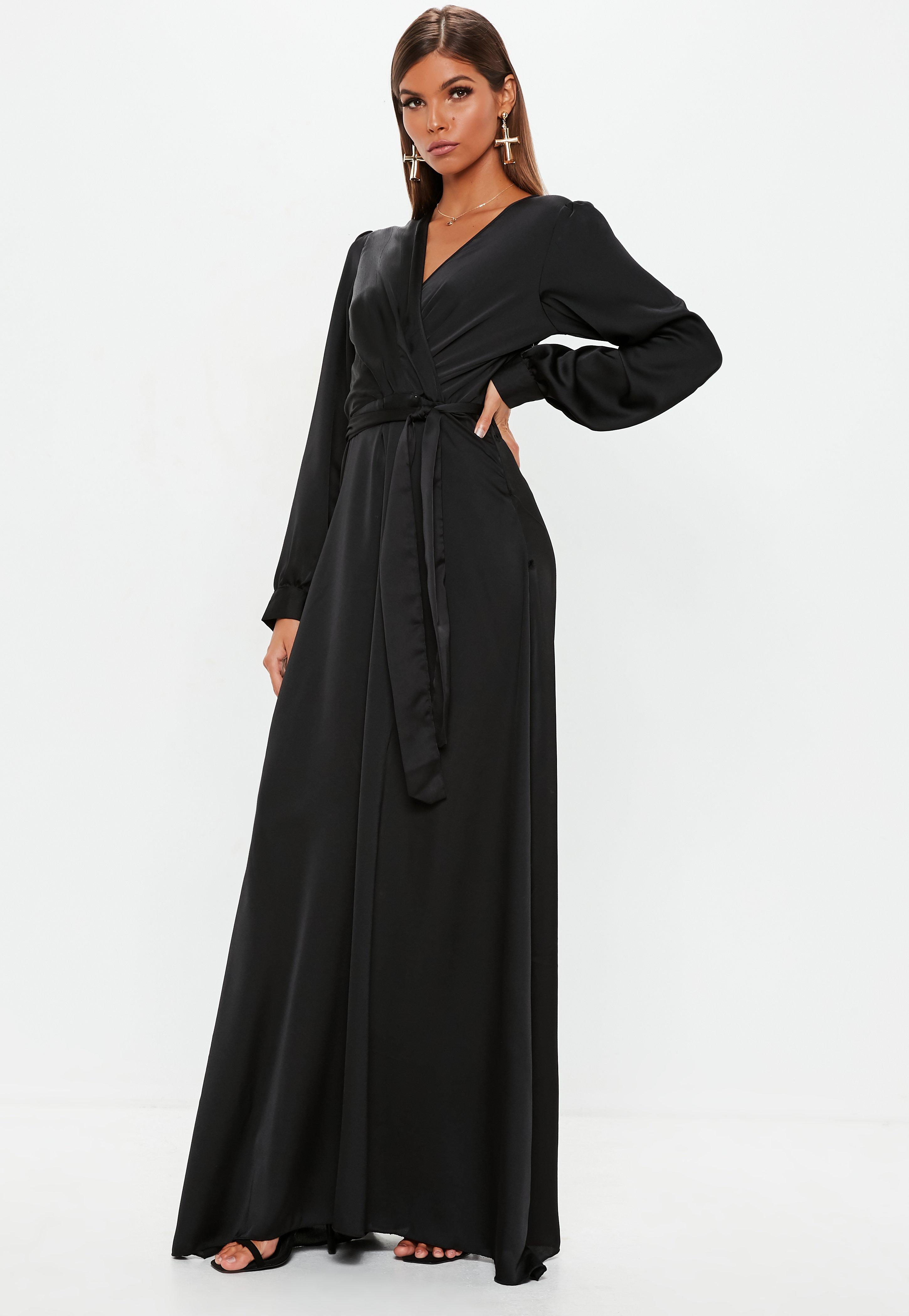 Black Satin Wrap Over Maxi Dress | Missguided