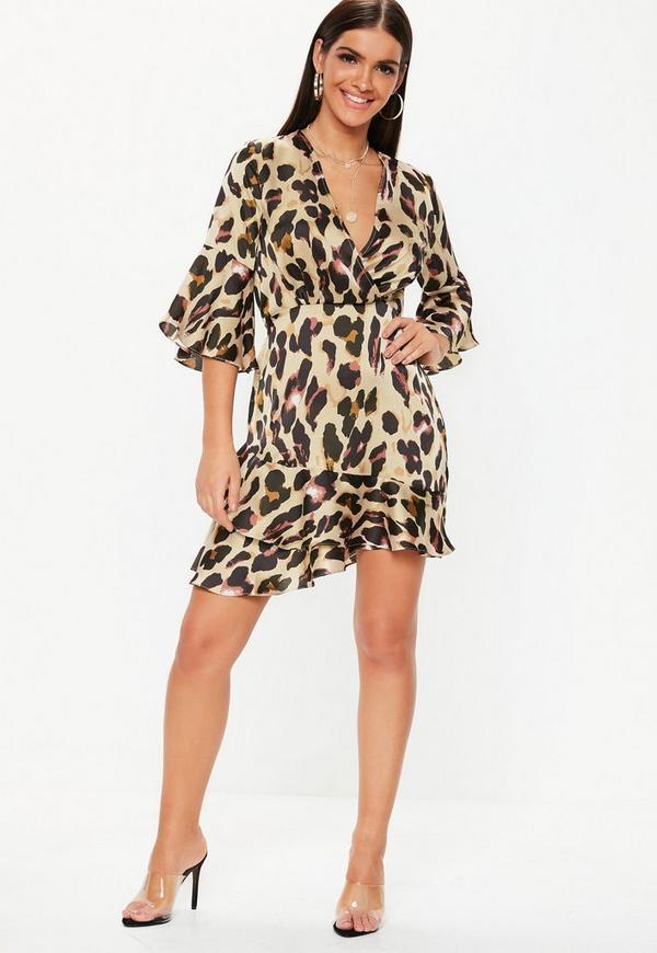Leopard Print Satin Wrap Tea Dress Missguided