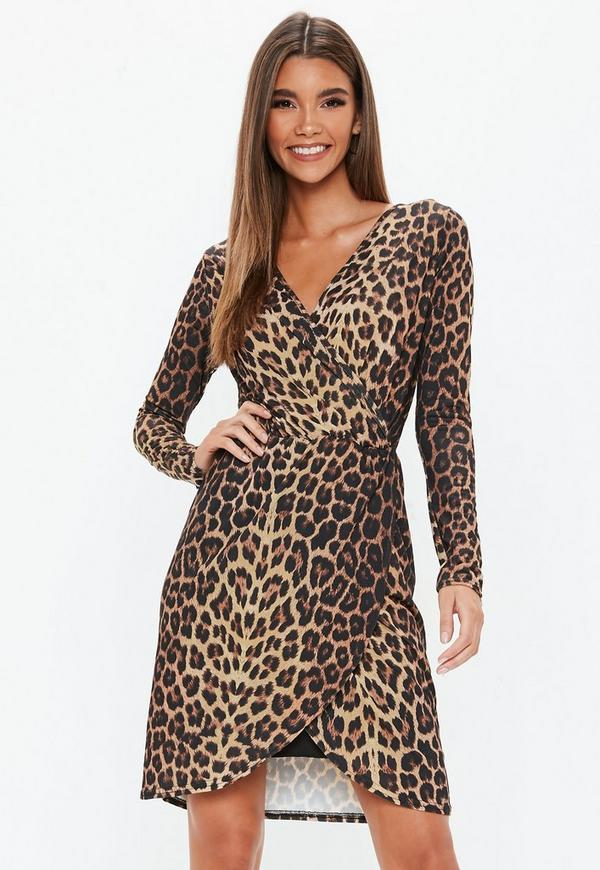 Brown Leopard Wrap Midi Dress Missguided