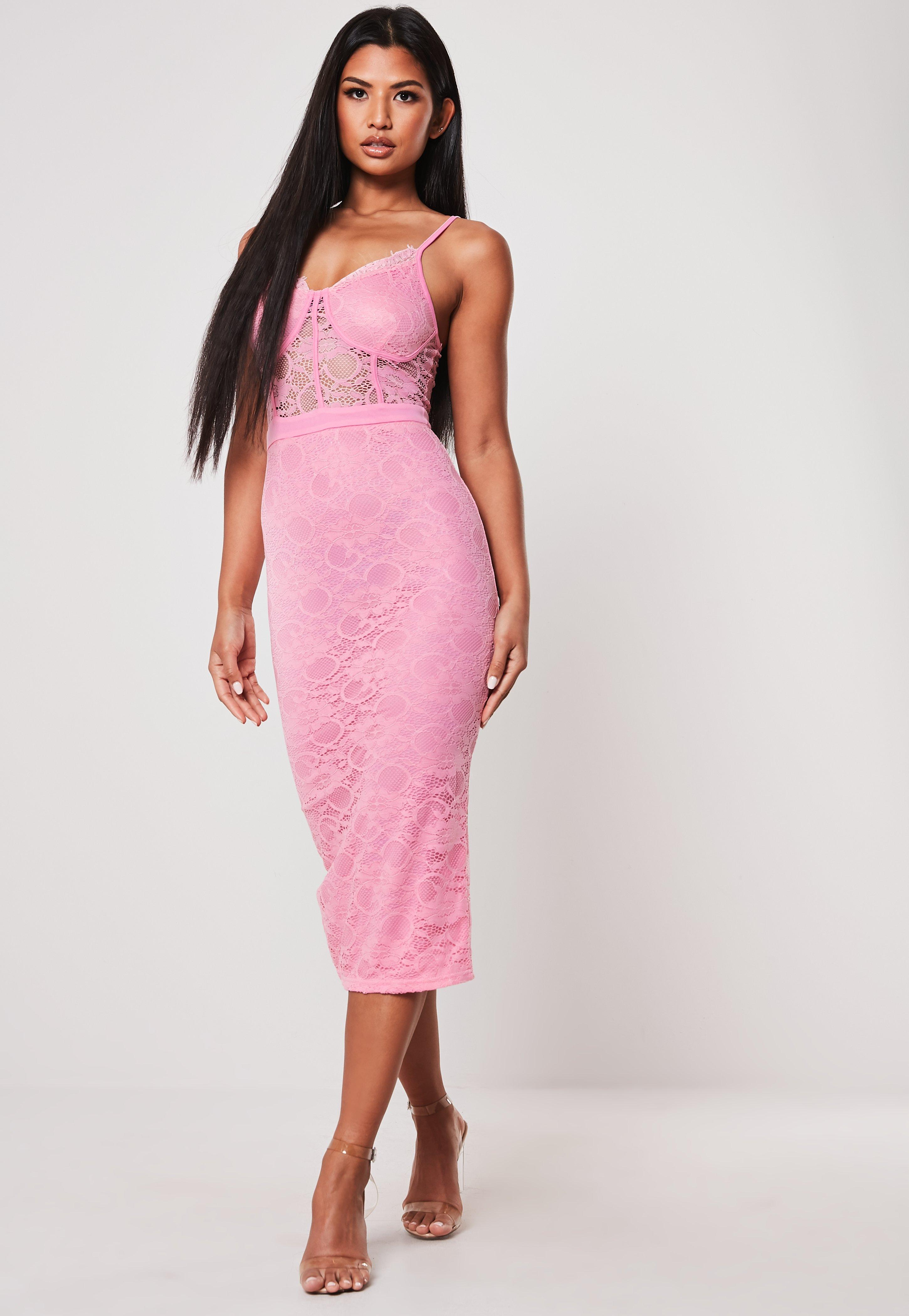 b3d0aa33bef Pink Bust Cup Lace Bodycon Midi Dress