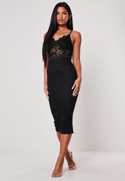 Чёрное бюст кружевное облегающее платье миди