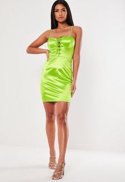 ... Green Stretchy Satin Lace Up Bodycon Dress 9ae3019e7