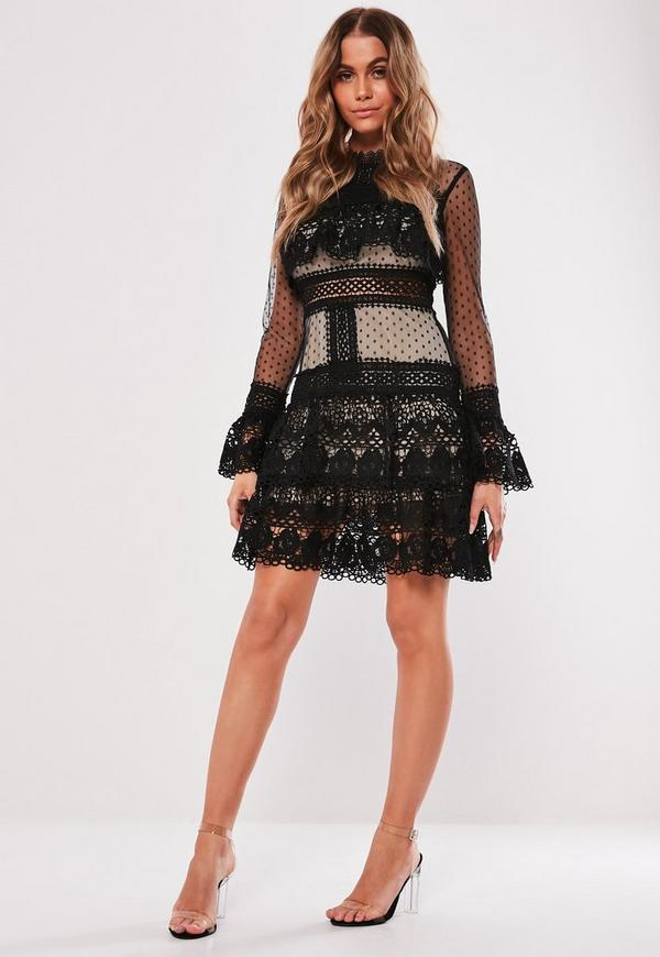a956a9741c25c Black Tiered Lace High Neck Skater Dress