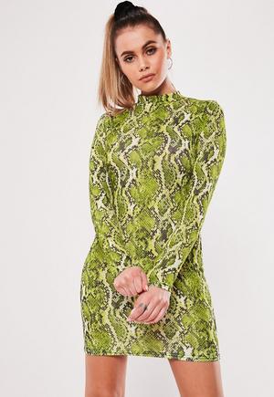 def5315eba78 Neon Pink Snake High Neck Bodycon Dress | Missguided