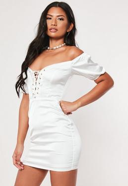31797603514f White Bardot Lace Up Bodycon Mini Dress