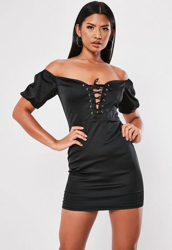 Black Bardot Lace Up Bodycon Mini Dress Missguided