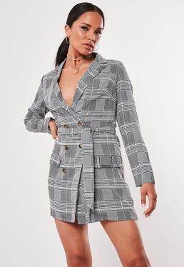 265439a86fc4 Grey Heritage Check Blazer Dress