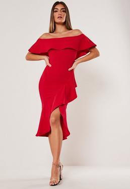 Платье миди с оборкой Red Bardot
