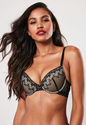 Lace Contrast Overlay Bra And Brief Set by Missguided