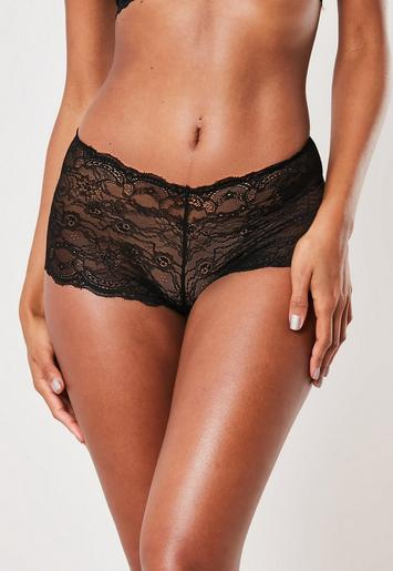 Black Lace French Knickers by Missguided