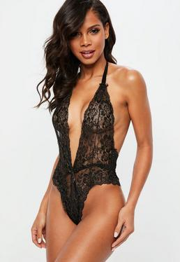 Black Gold Lace Halterneck Bodysuit