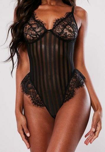 Black Lace Striped Detail Cupped Bodysuit Missguided Ireland