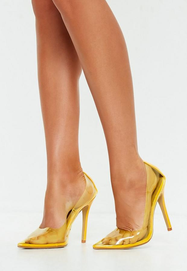 Yellow Clear Pointed Pumps