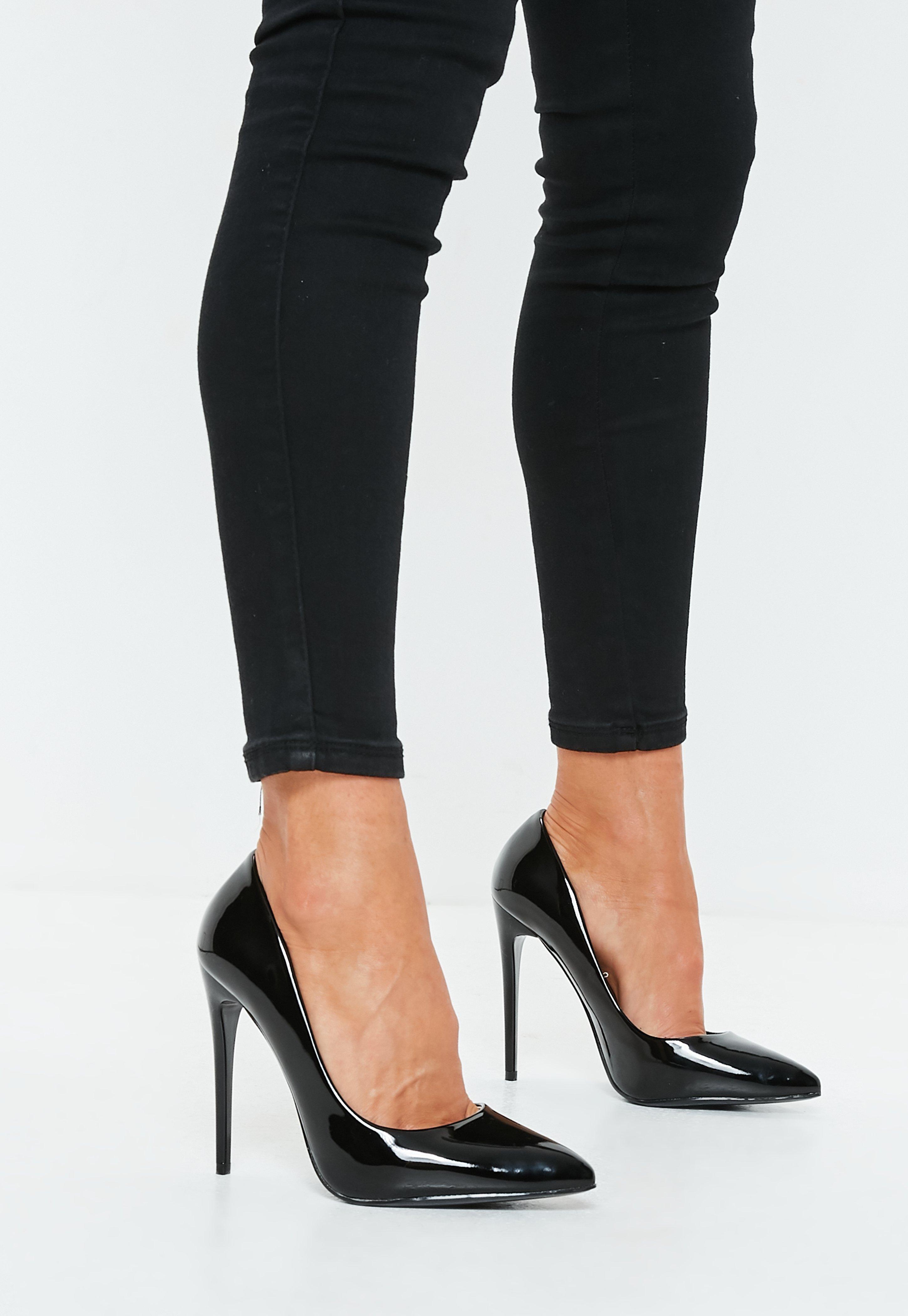 a2e6b6b645c Black PU Pointed Toe Court Heels