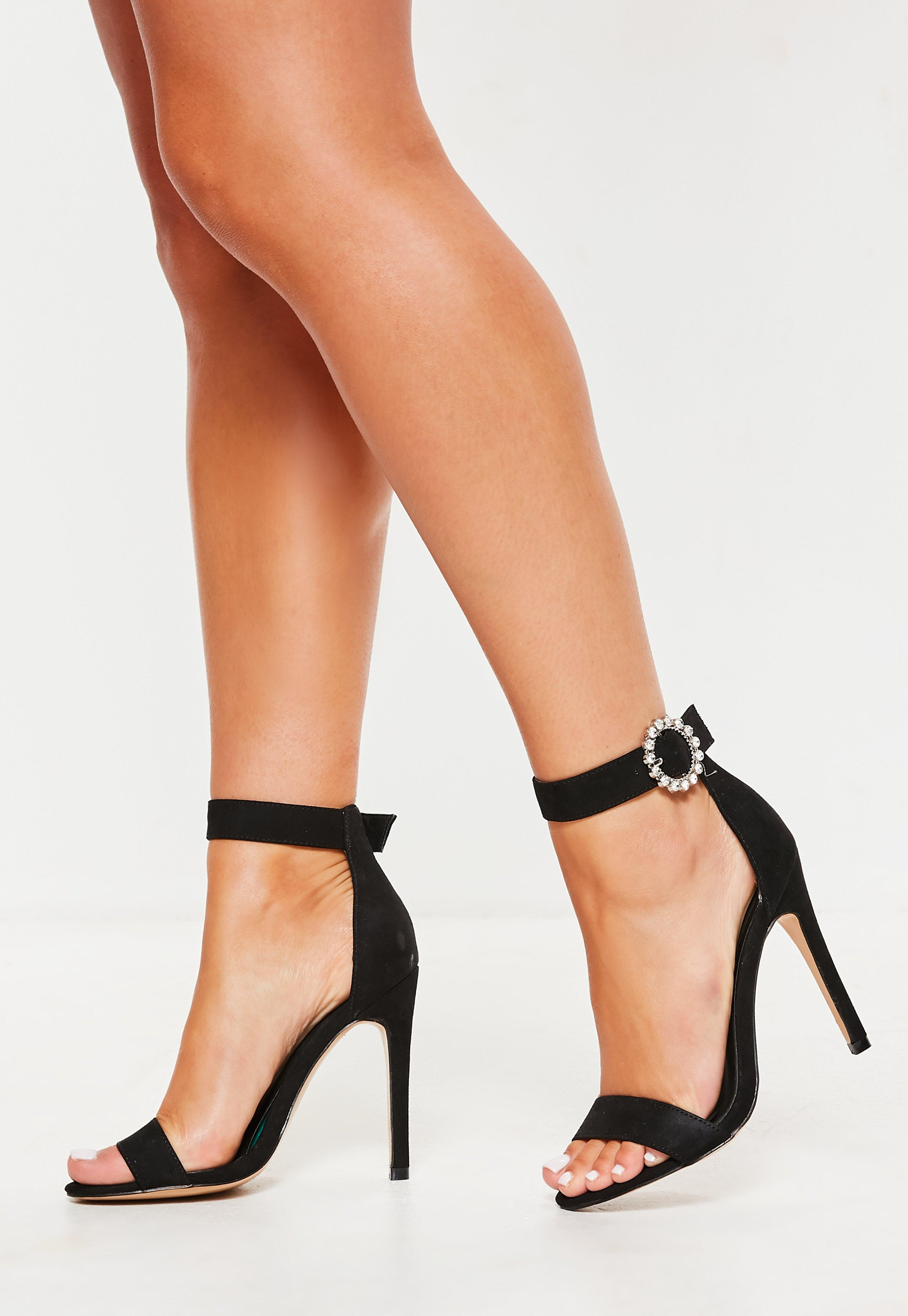 2cf0dd250b0 Black Wide Fit Embellished Buckle Barely There Heels