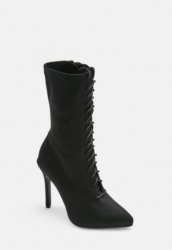 556a99d90c3b Black Lycra Lace Up Stilletto Heel Ankle Boots
