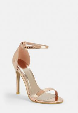 9092ddaec2929 Rose Gold Barely There Patent Heeled Sandals