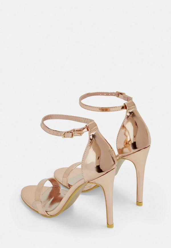 Rose Gold Barely There Patent Heeled Sandals. Previous Next